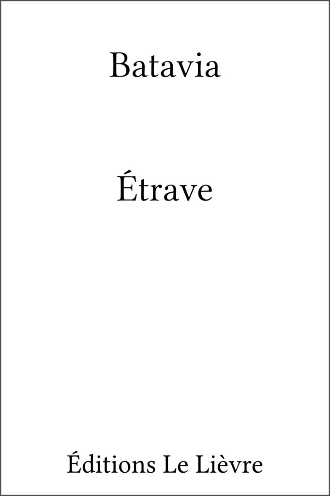 Couvrerture de Étrave par Batavia