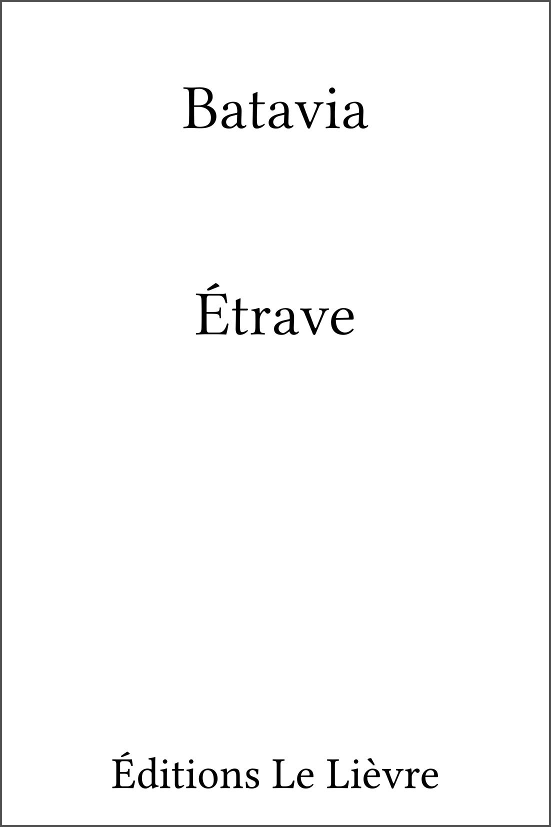Couverture de Étrave par Batavia