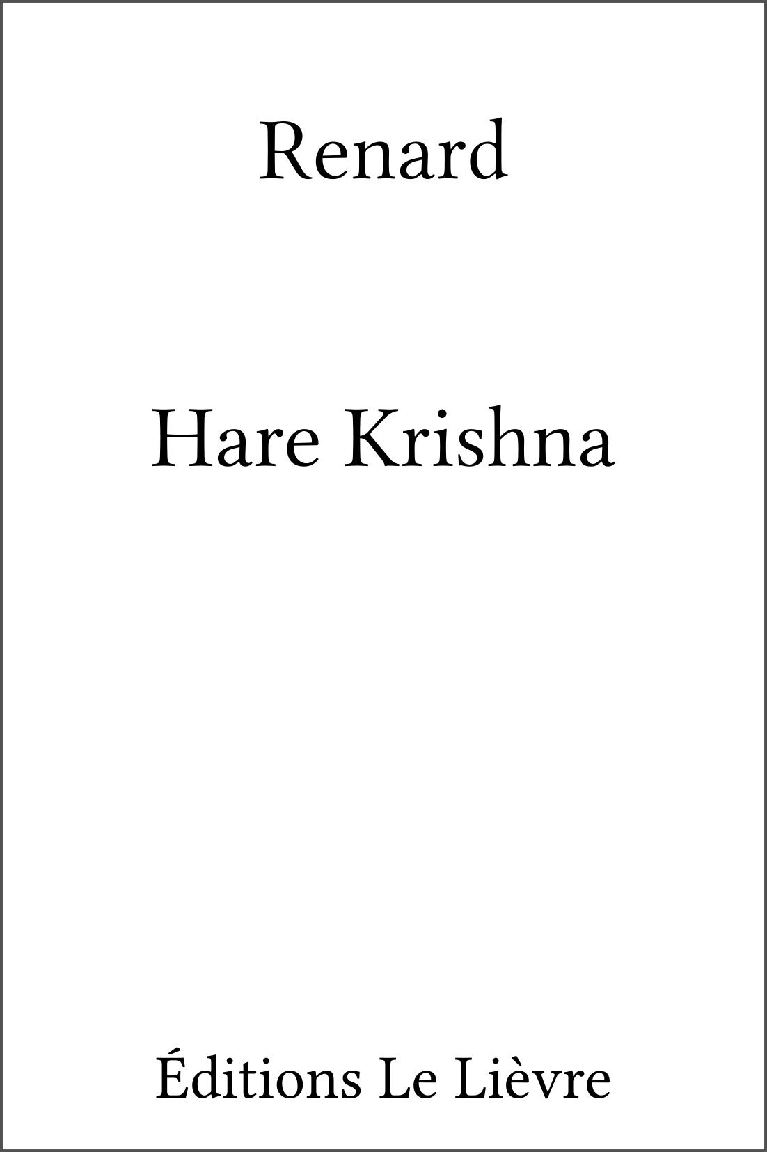 Couverture de Hare Krishna par Renard