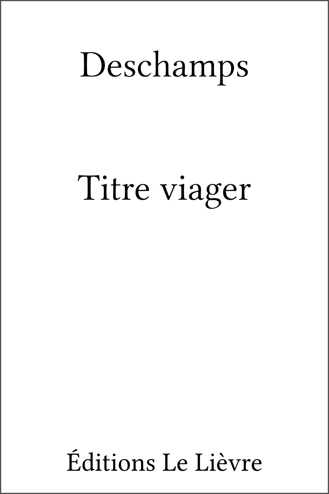 Couverture de Titre viager par Deschamps
